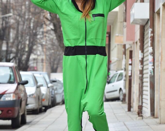 Extravagant Hooded Drop Crotch Jumpsuit, Loose Jumpsuit for Womens, Plus Size Jumpsuit, Low Bottom Party Jumpsuit by SSDfashion