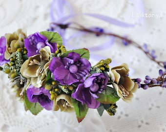Bridal flower crown Bridal floral crown Floral Hair Wreath Floral wedding crown Wedding flower headpiece Wedding flower crown Boho LV12