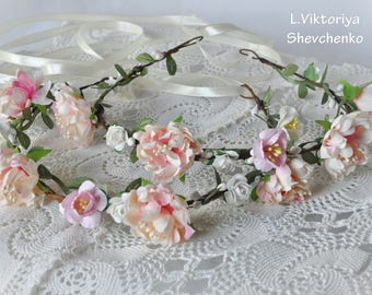 Bridal flower crown Floral crown Flower girl halo Newborn head wreath Girl halo Pink Ivory flower crown  Photography Flowers Girl LV12