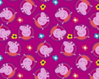 Peppa Pig Badges Cotton Woven, Peppa Pig Fabric, Pig Fabric, Childrens Fabric, Peppa Pig, Nursery Fabric, Pink Fabric, Quilting Fabric,