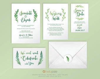 Watercolour Boho Eco Wreaths Printable DIY Wedding Invitation Stationery Set