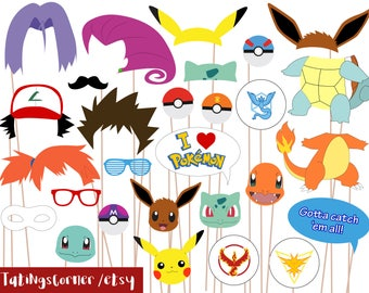 Pokemon Photo Booth Props, Pokemon Go Party PhotoBooth Props, Instant Download, kids party, printable, pikachu, party props