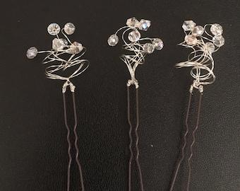 Bridal crystal hairpins. Wedding hair accessories. Decorative hair pins. Wedding hairpins. Crystal hairpins. Wedding. Prom.