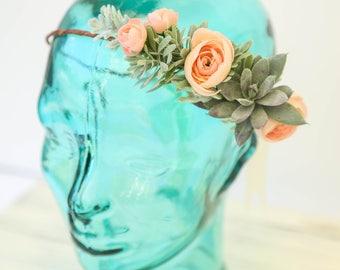 Peach pink or cream white Succulent flower crown, wedding flower crown, Boho flower crown, Bridal flower crown, pink flower crown