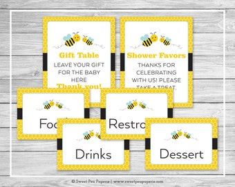 Bumble Bee Baby Shower Table Signs - Printable Baby Shower Table Signs - Bumble Bee Baby Shower - Bee Shower Table Signs - EDITABLE - SP138