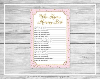 Pink and Gold Baby Shower Who Knows Mommy Best Game - Printable Baby Shower Who Knows Mommy Best - Pink and Gold Confetti Baby Shower- SP145