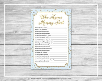 Blue and Gold Baby Shower Who Knows Mommy Best Game - Printable Baby Shower Who Knows Mom Best - Blue and Gold Confetti Baby Shower - SP146