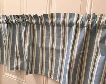 French Country blue white green stripe curtain valance