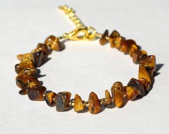 Tigers eye bracelet Gemstone chips Gemstone bracelet Tigers eye beads Tiger eye jewelry healing stones Healing bracelet womens gift|for|her