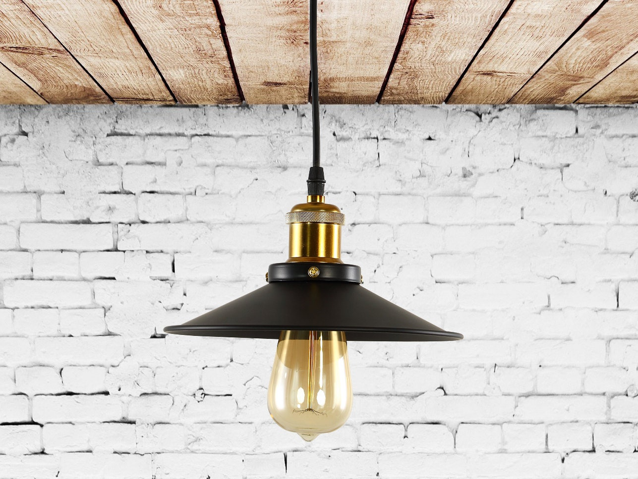 industrial pendant lighting with cone shade industrial style. Black Bedroom Furniture Sets. Home Design Ideas