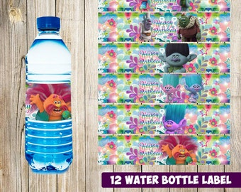 12 Trolls Water Bottle Label instant download, Printable Trolls Water Bottle Label, Trolls  Water Label, Trolls  printable