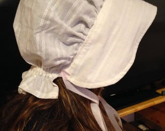 ADULT Women's WHITE Sunday/Church Pioneer Colonial Bonnet.  Soft Cotton Eyelet