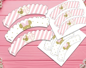 Minnie Mouse Cupcake Wrappers Minnie mouse birthday decorations Pink and gold Fisrt birthday girls 1s Birthday decorations printable
