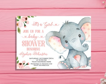 Girl baby shower invitation Its a girl invitation Elephant baby shower invite Jungle Baby Shower Invitation Floral Watercolor pink safari