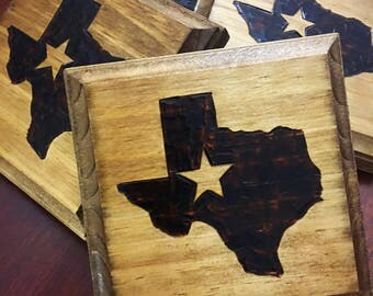 Texas state Wooden Coaster -  Set of 4
