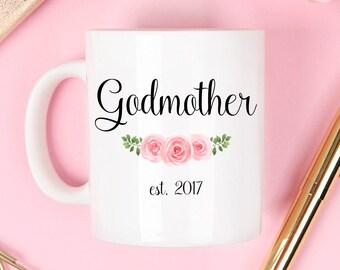 Godmother mug, godmother est mug, godmother established, baptism mug, christian gift, baptism gift, godparent mug