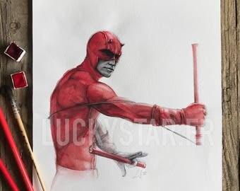 Original watercolor Daredevil / / Original watercolor of Daredevil / / birthday gift / / Birthday Gift / / party