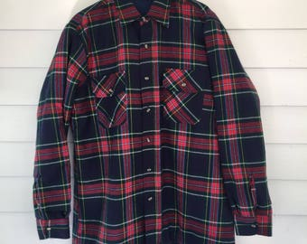 Vintage Flannel Work Shirt Made of Acrylic with Quilted Nylon Lining - Large