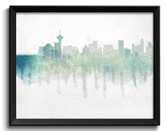 Icy Blue Grey Vancouver Skyline BC British Columbia Canada Cityscape Art Print Poster Watercolor Painting