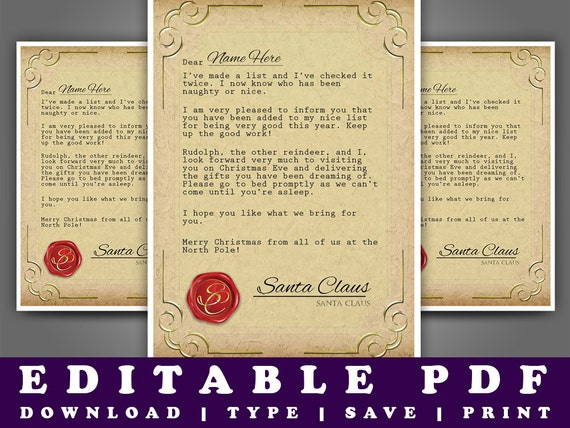 printable letter from santa diy a4 editable pdf instant