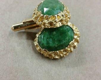 Green cut stone cuff links