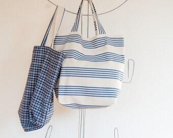 Striped canvas beach tote bag, Slouchy eco tote bag, Summer bag, market bag, Eco gift tote bag, Oversized bag Shopping bag