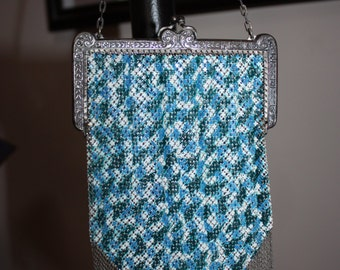 Stunning Mandalian Mesh Evening Purse with Intricate Metal Frame