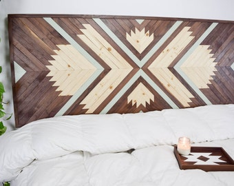 Wood Headboard - Large Wood Wall Art - King Headboard - Wooden Wall Art -  Geometric Headboard - Modern Headboard - Queen Headboard