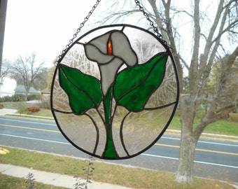 Stained Glass Easter Lily Window Hanging