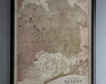 New York Map: Vintage Map of Queens, New York - Circa 20th C. - Weathered Map