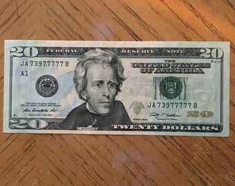 Lucky Money, Near solid 7's 20 dollar bill, lucky US dollar bill
