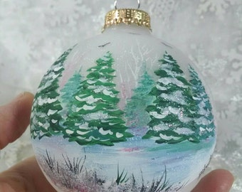 Winter Trees Ornament, Christmas Ornament, Pine Trees in Snow, Handpainted Ornament, Let It Snow, Free Inscription,