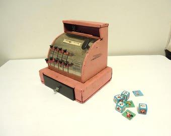 vintage toy cash register pink,tom thumb metal register mechanical toy,tin toys