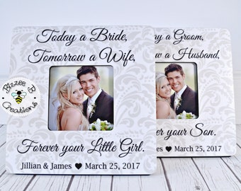 ON SALE Today a Groom & Today a Bride Wedding Frame Set, Wedding Parents Gift, Parents Wedding Thank You Gift, Gift for Parents,