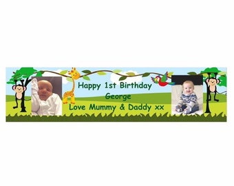 Birthday Banner, jungle party, Personalised Birthday Banner, Party Banner, Monkey party, 1st birthday banner, christening banner, Jungle