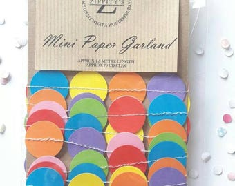 Mini paper Garland, mini bunting, String chain wedding, giftwrap, shop display, Party Decor, paper garland, multicoloured
