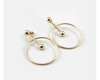 Trendy Versatile Wear Multiple Ways Gold Hoop Rod Geometric Statement Earrings