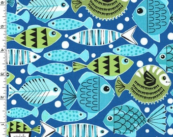 School's Out Fish Fabric - Blue - By Michael Miller Fabric