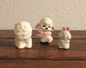 Vintage Lot of Ceramic Animal Figurines / Lamb / Fluffy Cat / Bunny / Instant Collection
