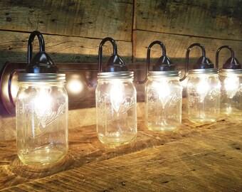 Mason Jar Light 5 - Light, Dark Oil Rubbed Bronze Rustic Mason Jar Vanity Light Bar with Authentic Ball Mason Quart Jars