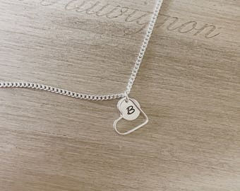 Heart charm necklace, initial necklace, letter necklace, monogram necklace, mom necklace, mom jewelry, personalized necklace