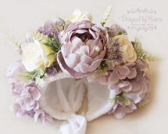Sitter Floral Bonnet - Girl Photo Prop - Vintage Flower bonnet - Designed by Sisters Photography Props - Light purple- Cream