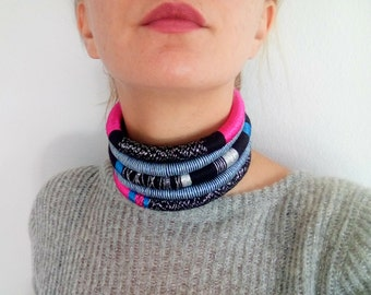 Choker, Gift for Her, Tribal Necklace, Rope Necklace, Edgy Necklace, Modern Necklace, Bijoux Choker, African Jewelry, Necklace, Afro, Urban
