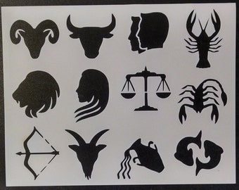 Horoscope Astrological Sign Images Scorpio Virgo Gemini Libra Pisces + Custom Stencil FAST FREE SHIPPING