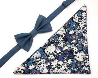Matching Bow Tie & Pocket Square Gift Set - Blue and Grey Floral Pocket Square - Teal Pre-Tied Bow Tie - Groomsmen Gifts - Father's Day Gift