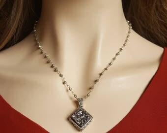 Silver Druzy Pyrite Bead Necklace