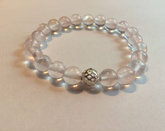 Rose Quartz Gemstone Bracelet with Silver Plated Accent Bead/ Reiki Crystal Healing Jewelry