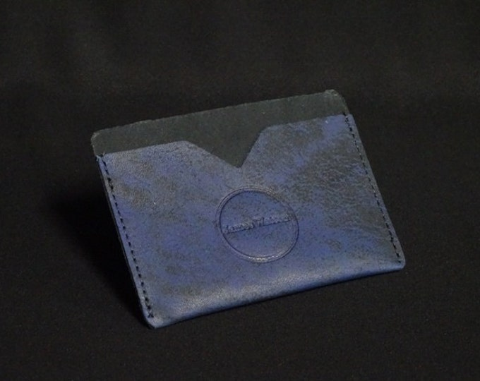 Pocket Wallet - Blue Art (1of5) - Kangaroo leather with RFID credit card blocking - Handmade - James Watson