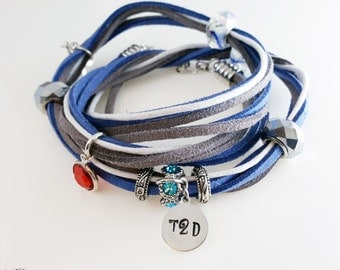 Diabetes Bracelet-Boho Style Multi Strand Wrap Bracelet with Hand-Stamped 'T2D' Tag for Type 2 Diabetics-Medical Alert Bracelet-Necklace