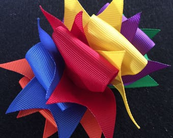Rainbow Spikey Loop Boutique Hair Bow